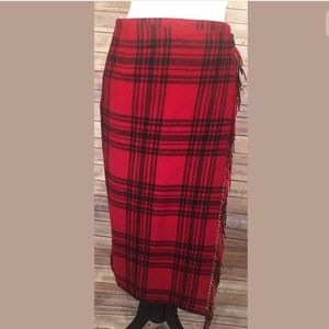 Eddie Bauer Skirt SZ 10P Wrap Plaid Long Red Black